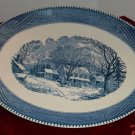 Navy Blue Winter Farm Scene Print on Ceramic Dinner Platter