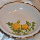Enesco Yellow Rose Bowl Scalloped Edges Gold Trim