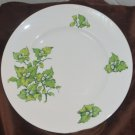 Crown Sterling England Green Leaf  Vine White Flower Bone China Plate