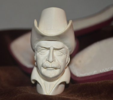 Rare Handcrafted Meerschaum Pipe Cowboy Leather Case