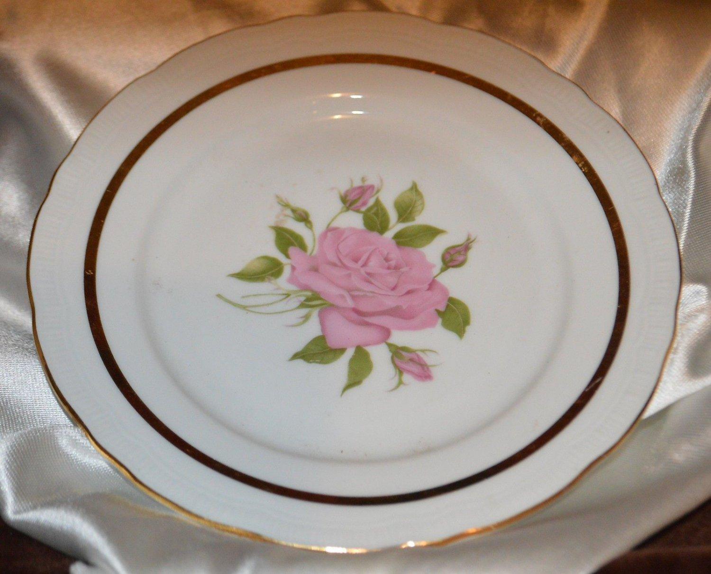 Royal Rose Czechoslovakia Bread Dessert Plate Dish Pink Rose Gold Trim