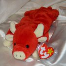 Horny Red Bull Ty Beanie Baby SNORT PVC 1995 No Number Valentine?