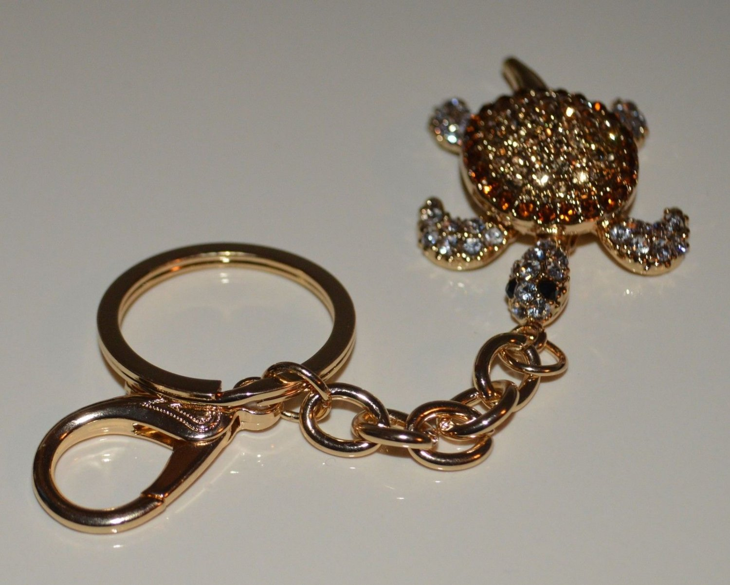 Tan Brown Crystal Turtle Tortoise Keychain Key Fob Holder Purse Bag Charm