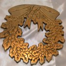 Christmas Wreath Brass Trivet Hot Plate Hotplate