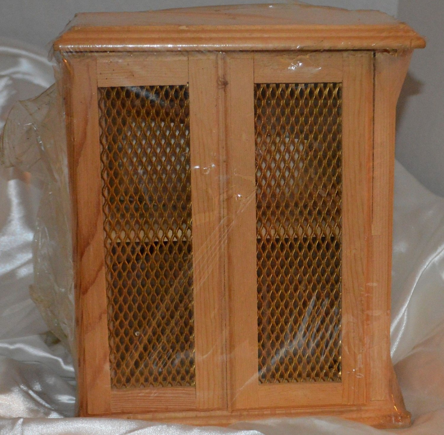 Miniature Unfinished Handcrafted Wood Cabinet Wire Mesh Doors