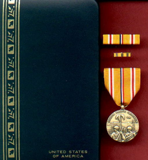 WWII Asian Pacific Theater Campaign medal with rb and lp cased set