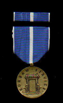 1. Korean War Service medal with ribbon bar