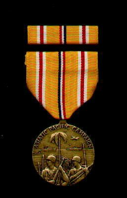 5. WWII ASIAN PACIFIC THEATER CAMPAIGN MEDAL WITH RIBBON BAR