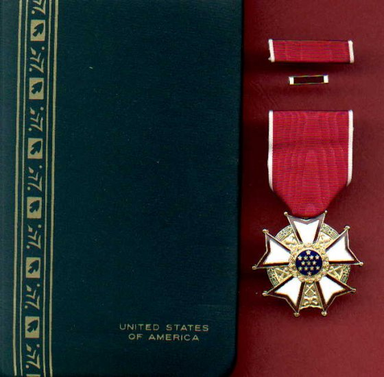 Legion of Merit medal in case with ribbon bar and lapel pin