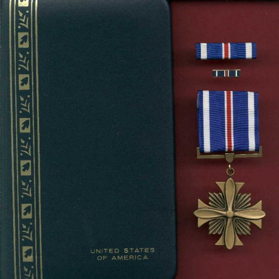 US Distinguished Flying Cross medal in case with ribbon bar and lapel pin