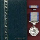 Silver Life Saving medal in case with ribbon bar and lapel pin