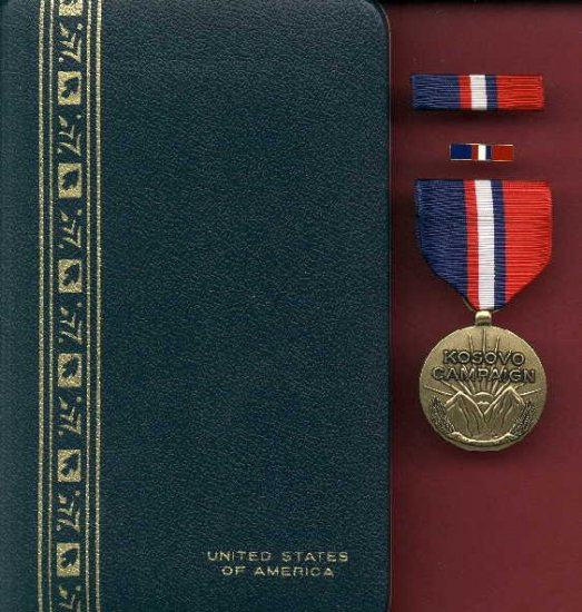 Kosovo Campaign medal in case with ribbon bar and lapel pin