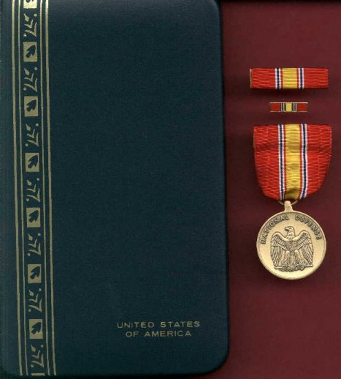 US National Defense Service Award medal in case with ribbon bar and lapel pin