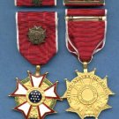 Legion of Merit Officer's Rank medal in case with ribbon bar and lapel pin