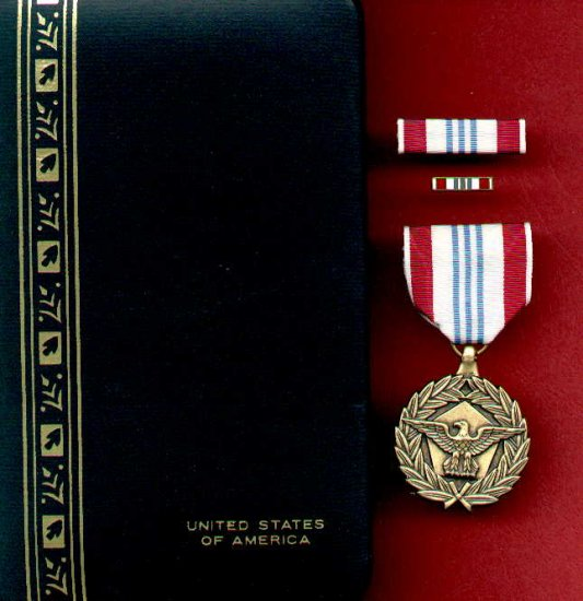 US Defense Meritorious Service  medal in case with ribbon bar and lapel pin