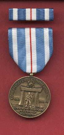 Korean Defense Commemorative medal with ribbon bar