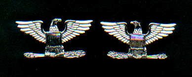 Pair of Colonel Eagles rank insignia 1/2 size