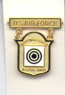 USAF Air Force Distinguished Pistol Shot badge in gold
