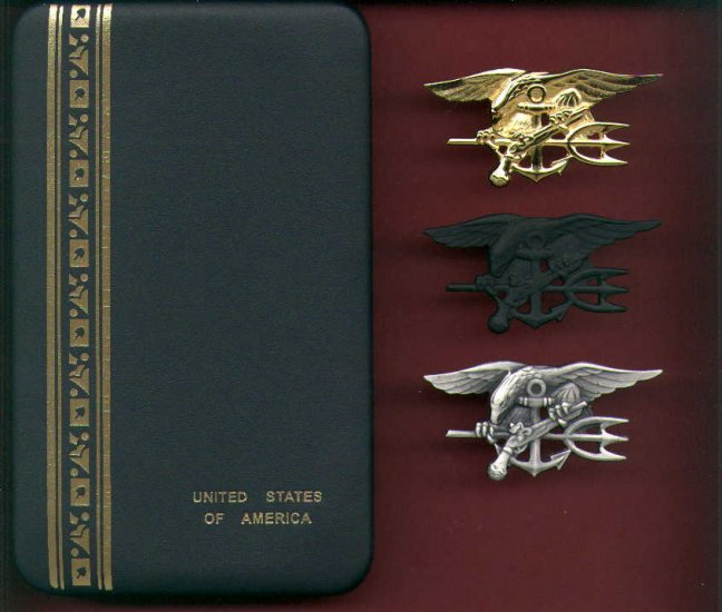 Set of Navy SEAL Badges Tridents in Case