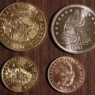 CSA Confederate set of four coins dated 1861
