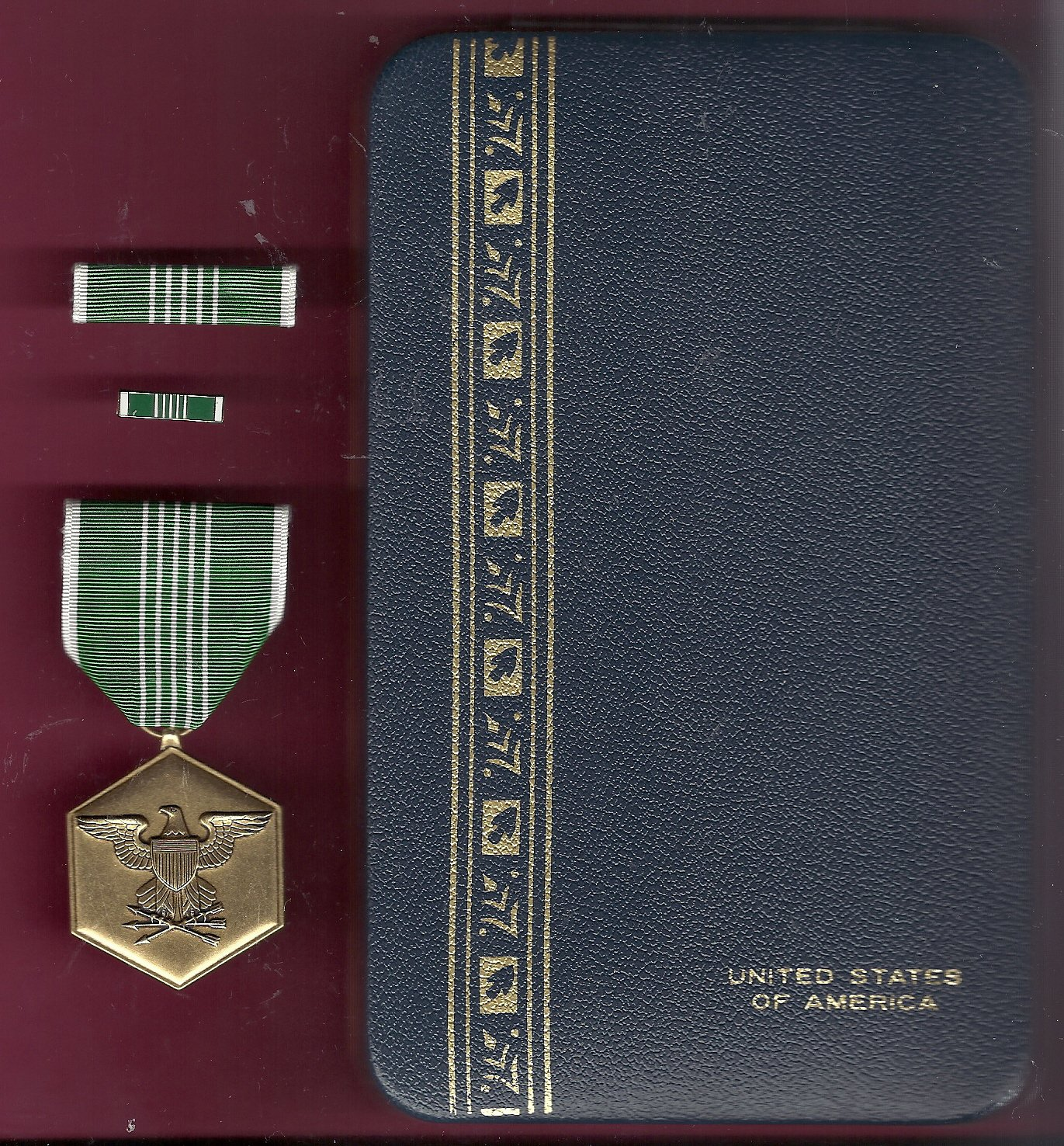 Army Commendation Award medal in case with ribbon bar and lapel pin