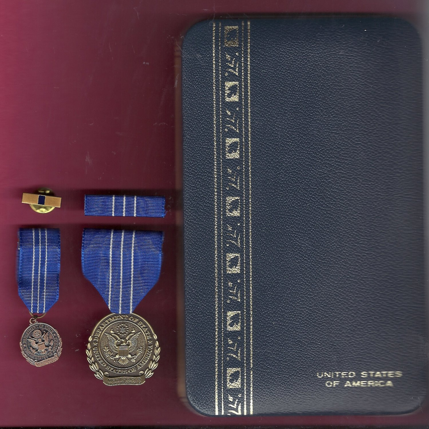 State Department Meritorious Honor Award medal in case with mini, lapel pin and ribbon bar