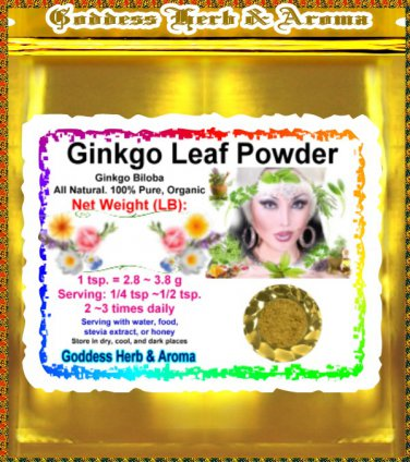 Ginkgo Leaf Powder (Ginkgo Biloba) Organic Grown All Natural Wild Crafted 100% Pure - 1LB