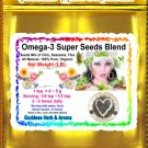 Omega-3 Super Seeds Blend (raw, whole): Chia Seeds, Seasame Seeds, Flaxseeds  Organic Grown- 1 LB