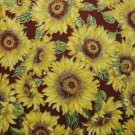 LARGE SUNFLOWERS HILITED IN GOLD-BURGUNDY B/G-F/Q-KAUFMAN-QUILTING-SEWING-CRAFTS