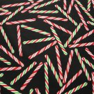 CANDY CANES TOSSED ON BLACK B/G-F/Q-TIMELESS TREASURES-QUILTING-SEWING-CRAFTS