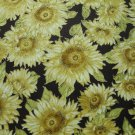 LARGE SUNFLOWERS HILITED IN GOLD-RUST B/G-KAUFMAN-BTY-QUILTING-SEWING-CRAFTS