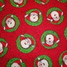 SANTA CLAUS FACES IN GREEN WREATHS-RED B/G-F/Q-QUILTING-SEWING-CRAFTING