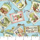 Garden Gate By Northcott Fabrics-BTY-Seed Packets tossed on Blue B/G W/Dots