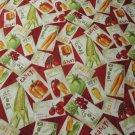 Vegetable Seed Packets Tossed on Red B/G By Wilmington Prints-BTY - OOP!!