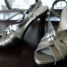 Strappy Slingback Metallic Pewter Sandals