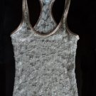 Alexia Admore Lace and Silk Racerback Tank Gold With Pink Trim XS