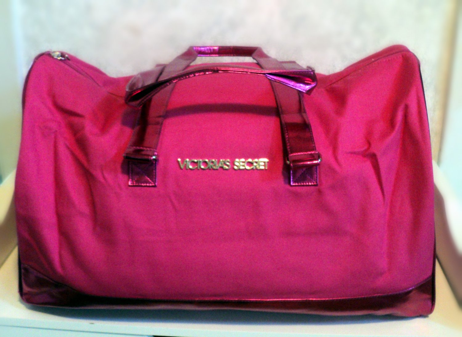 97148303c621 Victoria s Secret Metallic Trim Pink Canvas Getaway Duffle Bag