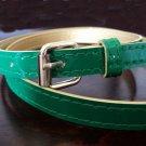 Slim Patent Belt Green