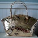 Gold Embossed Snake Print Handbag