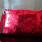 Red Metallic Snake Embossed Wristlet Clutch