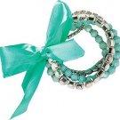 Aqua & White Bead & Rhinestone Bracelet Set of 5
