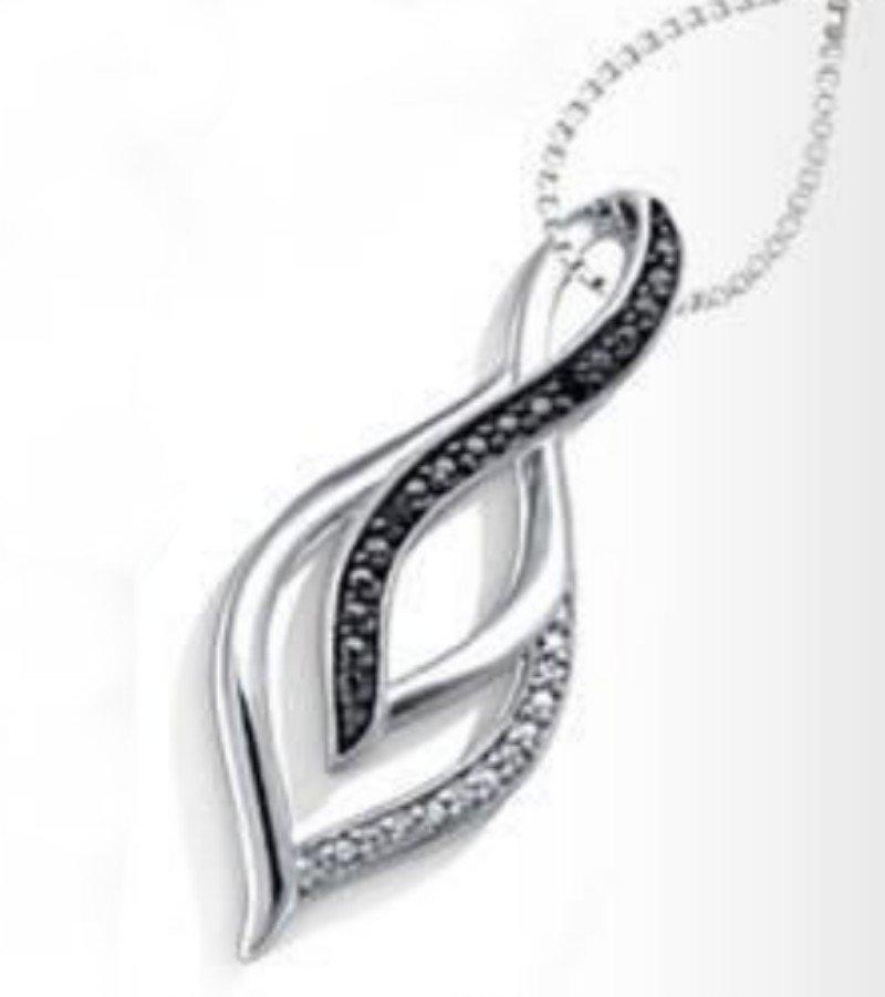 Helzberg Diamonds Black & White Diamond Pendant Necklace