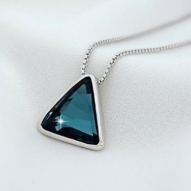 Aqua Crystal Pendant Necklace