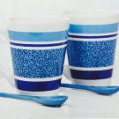 Blue Stripe Coffee Mugs With Matching Spoons