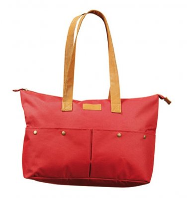 Red Canvas Faux Leather Accent Tote