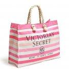 Victoria's Secret Pink & White Striped Canvas Tote