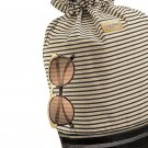 Striped Canvas Drawstring Backpack Tote With Sunglasses
