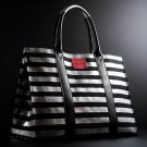 Victoria's Secret Limited Edition Paris Black & Silver Striped Canvas Tote