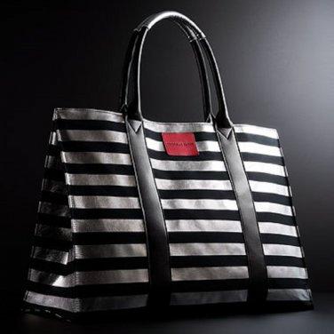 Victoria's Secret Limited Edition Paris Black & Silver Striped Canvas Tote