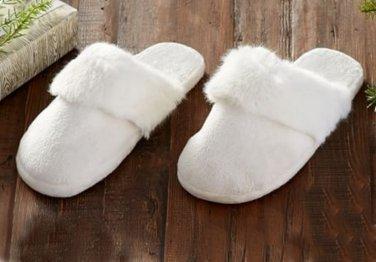 Pottery Barn Tonal Faux Fur Slippers